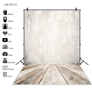 Laeacco Gray Cement White Wall Surface Wood Floor Baby Birthday Doll Portrait Photo Backdrop Photographic Background Photostudio