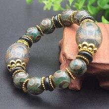 лучшая цена Drop Shipping Old Tibetan Dzi Beads Bracelet Ethnic Style Great Quality Three eyes Dzi Beads Stone Jade Jewelry