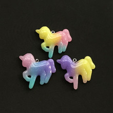 12pcs 42mm*26mm resin unicorn necklace charms very cute keychain pendant necklace pendant for DIY decoration lklrywbd popular color unicorn necklace unicorn round pendant necklace