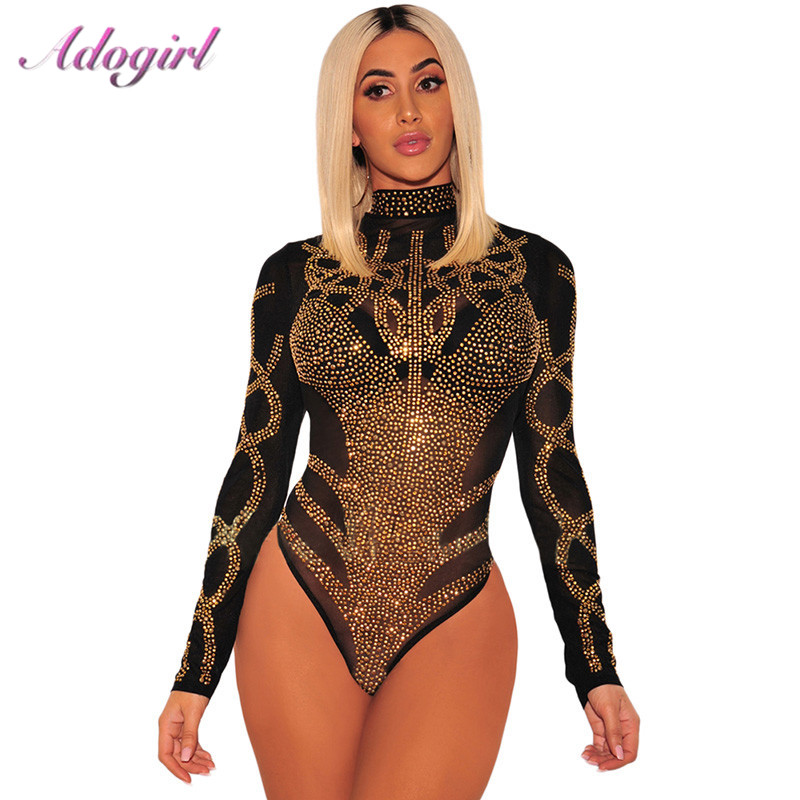 Sexy Gold Diamond Sheer Mesh Bodysuit Women Long Sleeve Turtleneck Autumn Outwear Body Tops Tee Party Club Jumpsuit Rompers