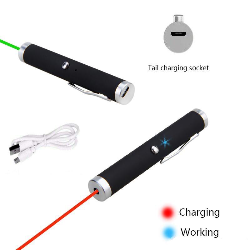 Зеленая лазерная указка-брелок USB, Встроенная перезаряжаемая батарея, USB-зарядка, лазерная указка для офиса и обучения