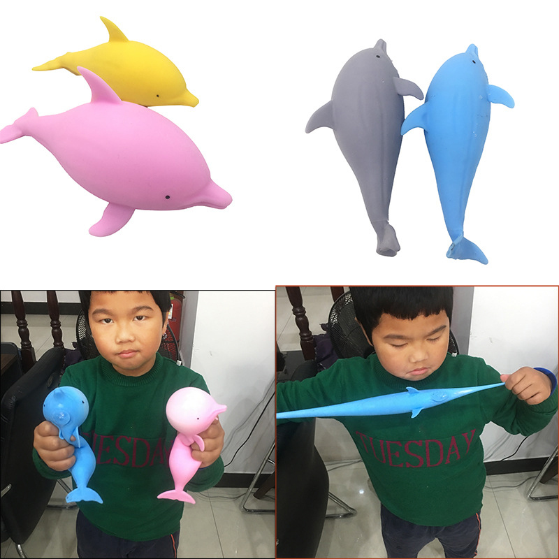 Squishy Dolphin Vent Toy Smash Squeeze Kawaii Kid Toy Anti-stress Decompression Splat Relief Flour Ball For Kids Toys