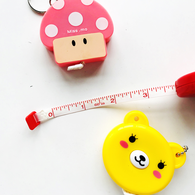 60Inch/1.5 Meter Kawaii Animals Roll Automatic Stretch Ruler Stationery Sewing Measure Ruler Measuring Tape Household Kids Gift