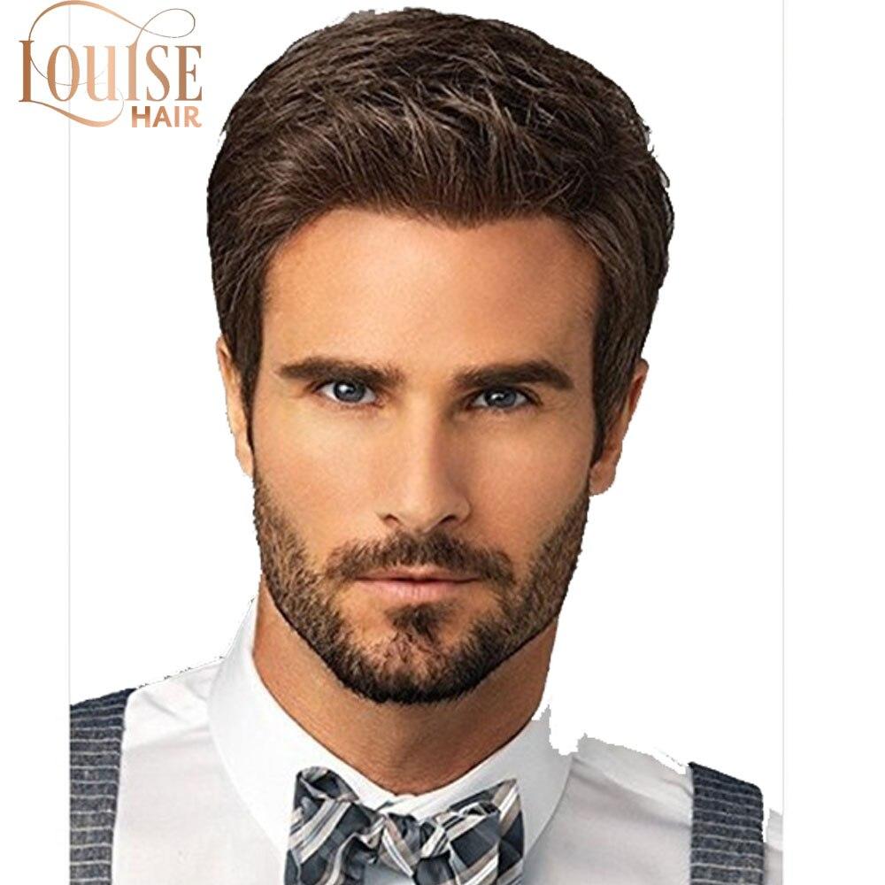 Louise Hair Fashion Men's Wig Short Straight  Hair Wigs For Men High Temperature Silk Fluffy Short Straight Brown Hair For Men