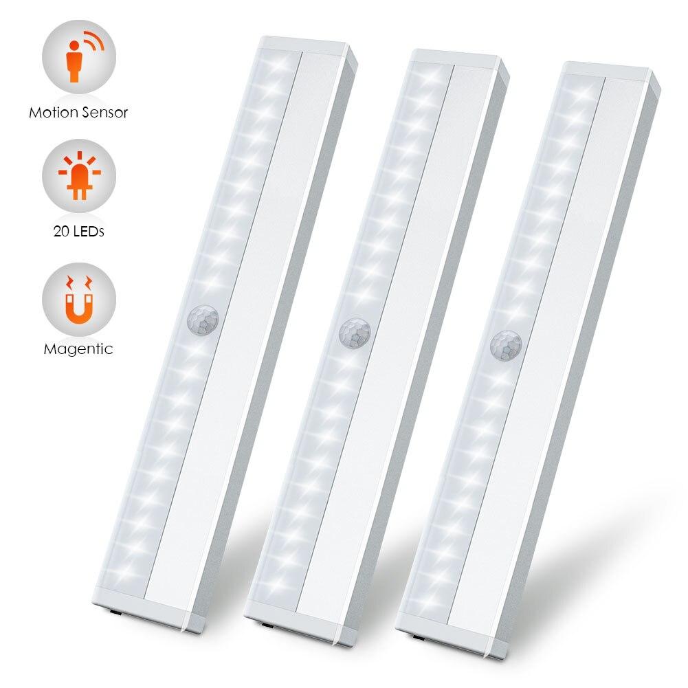 sob a iluminacao do armario luz do armario 20 leds 3 pacotes de luzes recarregaveis sem