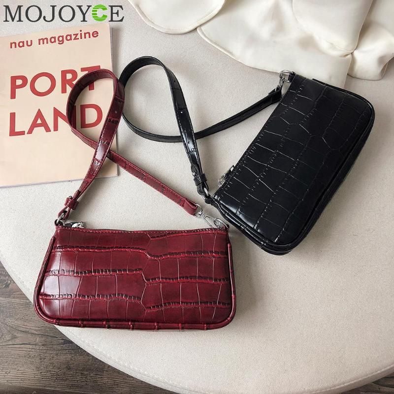 Retro Handbag Women Crocodile Leather Shopping Totes Office Ladies Elegant Solid ColorShoulder Bag