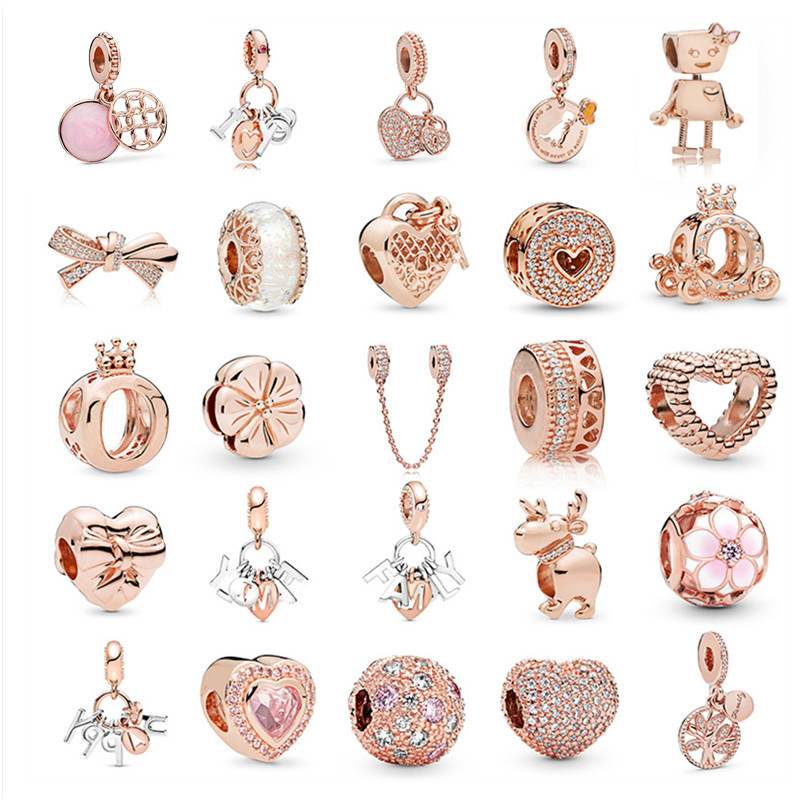 New Rose Gold Series Beaded Bow Heart-Shaped Beads Fit Original Charms Pandora Silver Bracelet Bead Jewelry Making