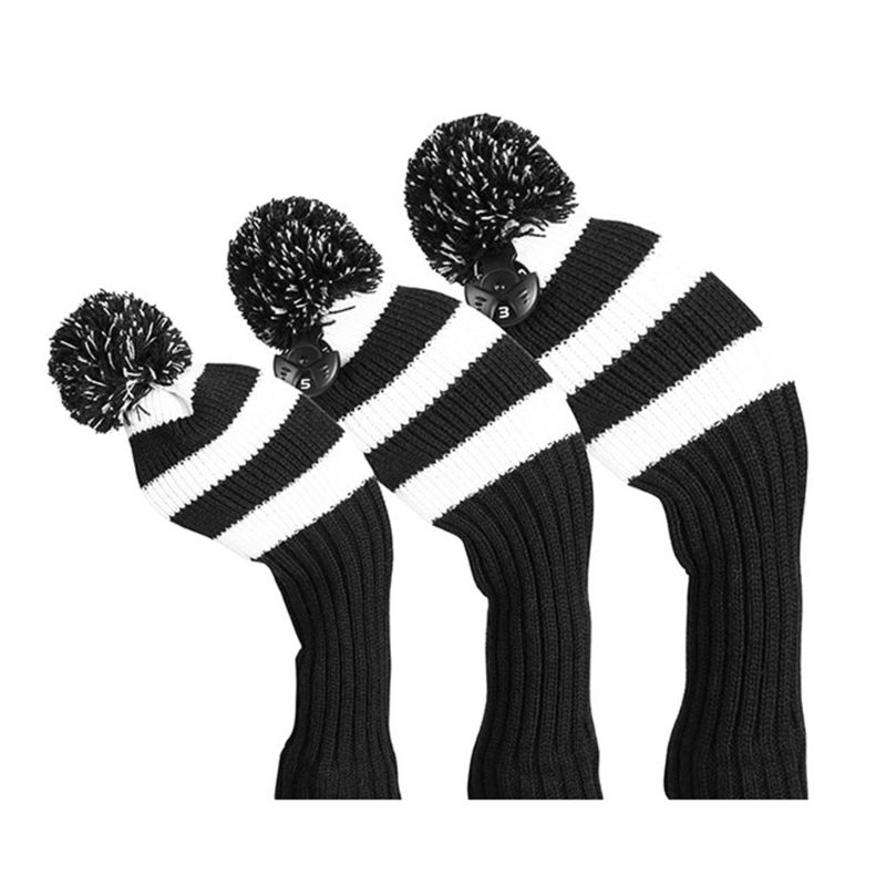 3 Pcs Vintage Simple Knitted Golf Headcover Driver Cover Three-piece Knit Fit For Driver Fairway Hybrid Sports
