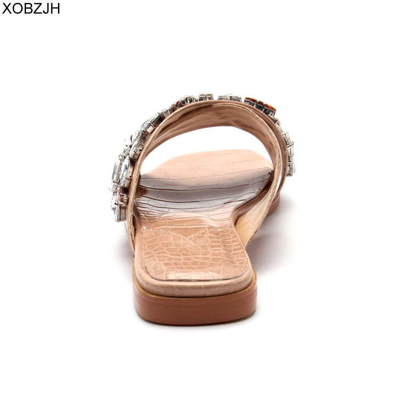 Dubai tasarımcı düz flop ayakkabı deri terlik kadın lüks 2019 G katır yaz terlik marka rhinestone G sandalet ayakkabı kadın