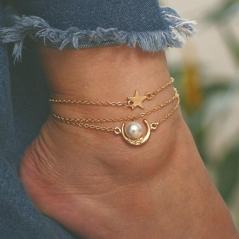 New Vintage Ankle Bracelet Gold Color Chain Star Moon Pendant Anklet Women Imitation Pearl Accessorie Leg Bracelet Femme Jewelry