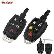 Okeytech 5 botões novo estilo do carro remoto caso chave capa de escudo fob para volvo c30 c70 xc90 v70 s60 v40 v50 inserção lâmina substituição