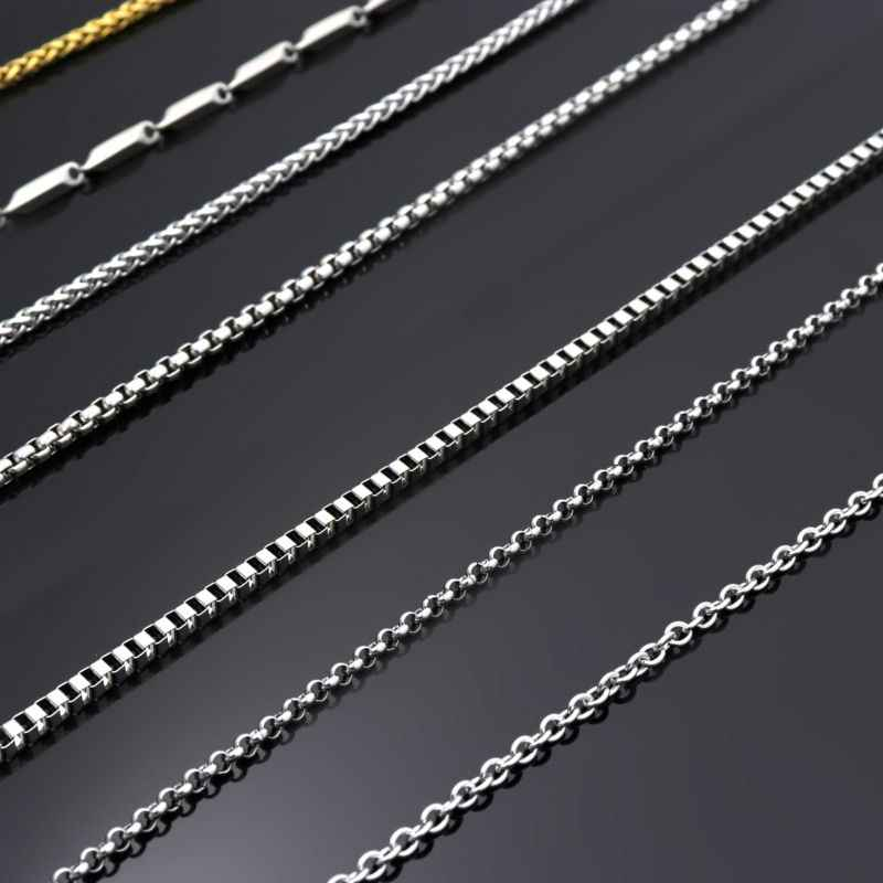 50 60 70 80cm Silver Tone Men's Dragon Box Bead Snake Long Stainless Steel Necklace Chain For Pendant Women Jewelry Accessories