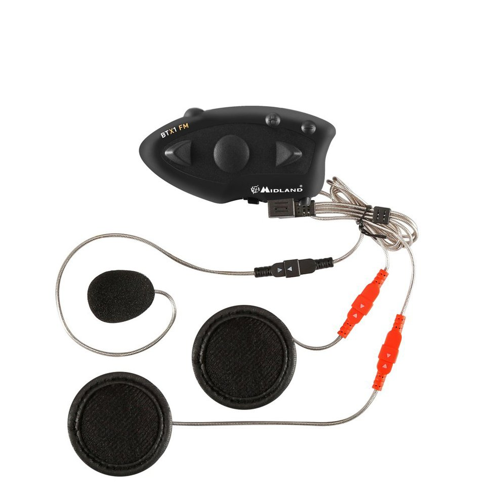 Black Durable MIDLAND BTX1 Motorcycle Helmet Headset Intercom Hands-free Interphone FM Rider-to-Passanger Intercom