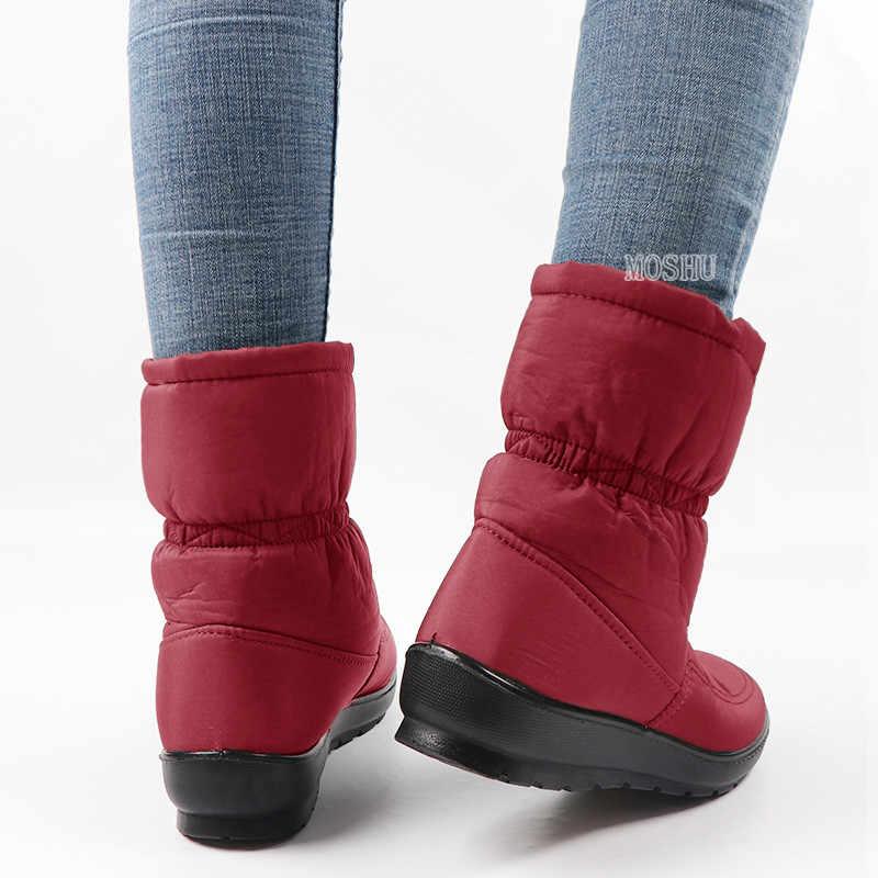 Kış yarım çizmeler kadınlar için kar botları sıcak kürk su geçirmez aşağı bayanlar platform ayakkabılar fermuar siyah Botines Mujer 2020