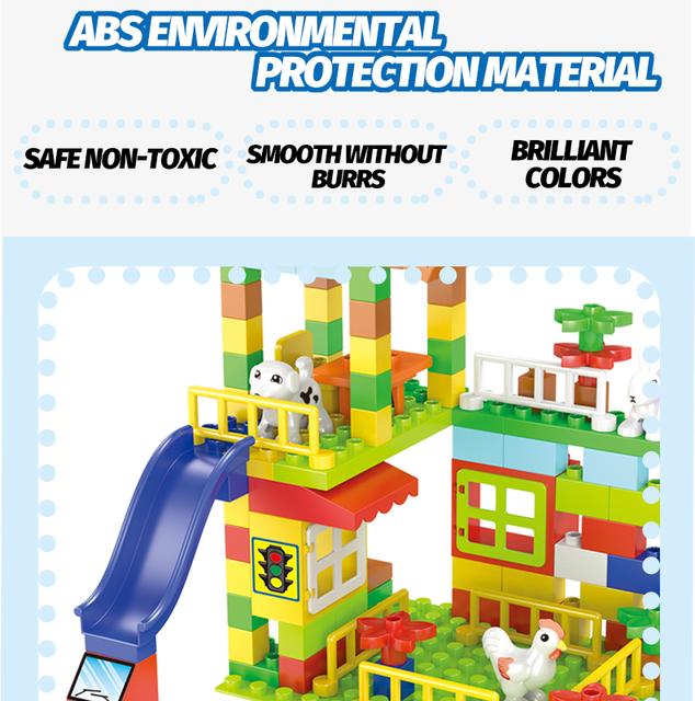 Compatible Duploed Big Particle Roof House Blocks Big Size Slide Building Blocks Castle DIY Bricks Gifts Toys For Children Kids