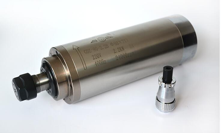 Motor de husillo refrigerado por agua 2.2kw ER20 husillo de fresado de grabado de refrigeración por agua AC220v 80x213mm para trabajar la madera