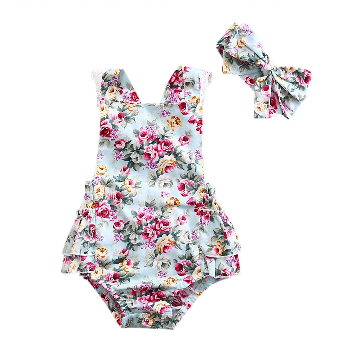 2PCS Newborn Floral Baby Girl Clothes 2019 Summer Sleeveless Cotton Ruffles Baby Bodysuit + Headband Outfits Sunsuit Playsuit