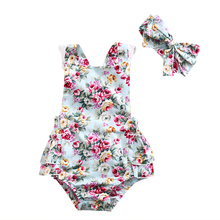 2PCS Newborn Floral Baby Girl Clothes 2019 Summer Sleeveless Cotton Ruffles Baby Bodysuit
