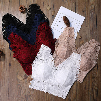 Women Lace Bra Sexy Bralette Crochet Solid Color Flower Bra Vest Bustier Crop Top Floral Cami Padded Tank hook front crochet lace bralette