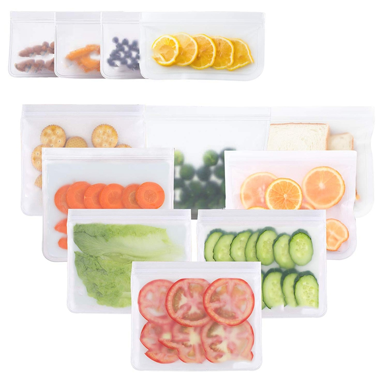 Reusable Storage Bags Leakproof Freezer Bags 8 Reusable Sandwich Bags 4 Reusable Snack Bags Extra Thick Ziplock Lunch Bag for in Saran Wrap Plastic Bags from Home Garden