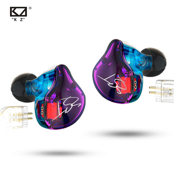 KZ ZST Purple Armature Dual Driver Earphone Detachable Cable In Ear Audio Monitors Noise Isolating HiFi Music Sports Earbuds