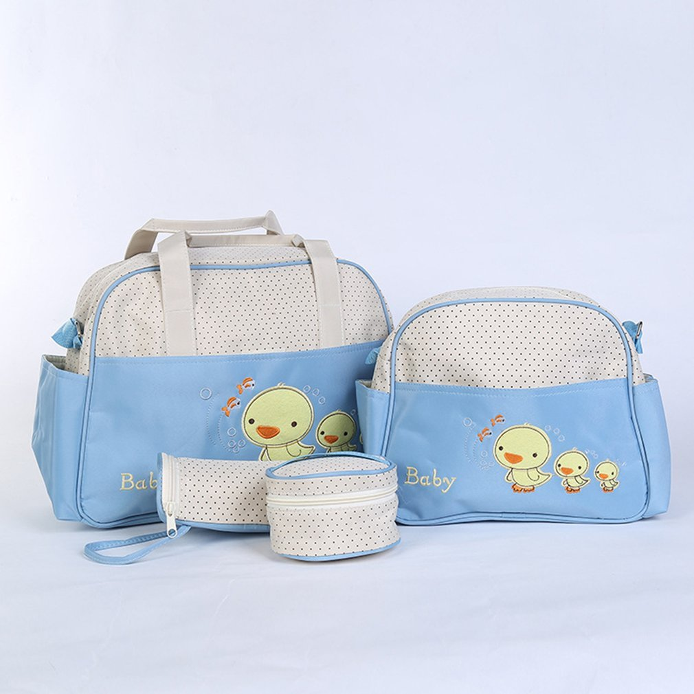 OUTAD 5pcs Mummy Bag Large Capacity Multifunctional Fashion Ducks Prints Shoulder Bag Handbag For Pregnant Women Diaper Bag