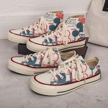 Women Sneakers Canvas Shoes Woman Flats Fashion Print Lace-u