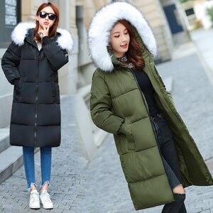 Image 4 - Plus rozmiar 5XL 6XL 7XL płaszcz zimowy kobiety futro z kapturem kołnierz Oversize luźna kurtka zimowa kobiety długie parki duży rozmiar dół kurtki