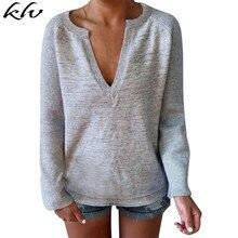 Women Autumn Deep V Neck Long Sleeve Knit T-Shirt Leisure Tops Casual