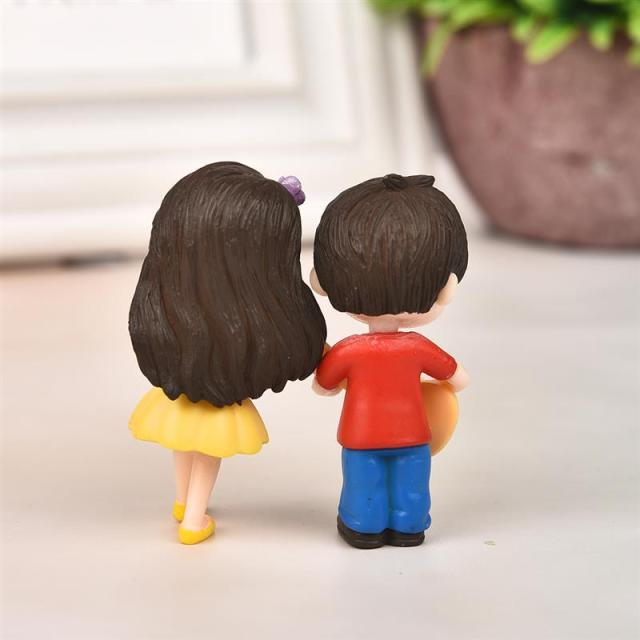1 Pair Sweet Lovers Couple Figurines Miniature Craft With Guitar Ornament Fairy Garden Decor Home Decoration Accessories 6