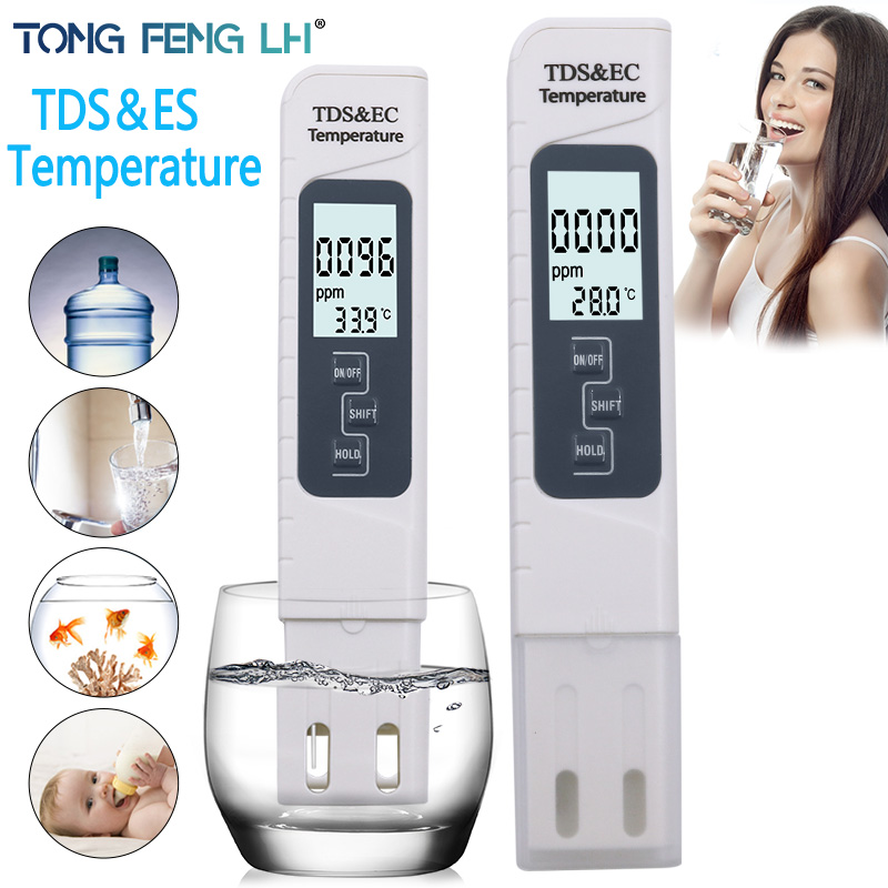 Portable Digital PH Meter 0.00-14.0 PH Tester TDS&EC Meter Thermometer 0-9999 Us Cm 0-9999 Ppm 0.1-80.0 Degree Water Quality Mon