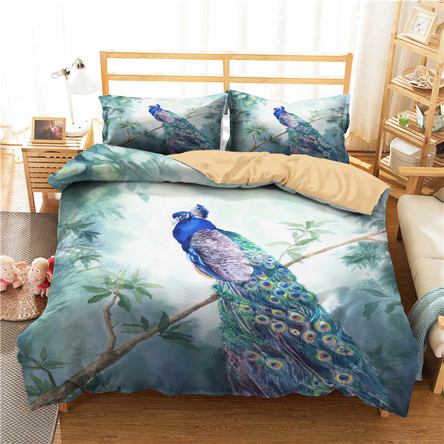 A Bedding Set 3D Printed Duvet Cover Bed Set Peacock Home Textiles for Adults Bedclothes with Pillowcase #KQ08