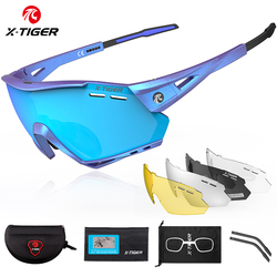 X-TIGER Polarized Cycling Glasses Outdoor Sports Road Bike Glasses 5 Lens Men Cycling Sunglasses MTB Bicycle Protection Goggles