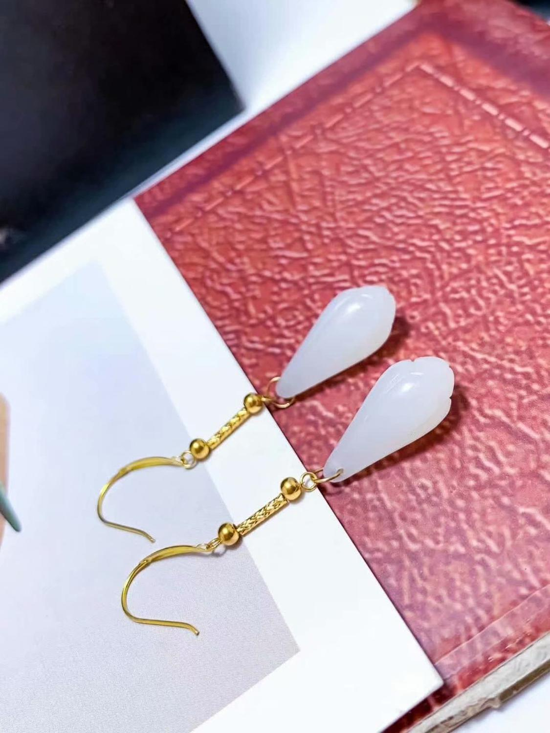 SHILOVEM 18k yellow gold Natural white Jasper drop earrings classic fine Jewelry women wedding gift new 8 18mm yz0818920hby in Earrings from Jewelry Accessories
