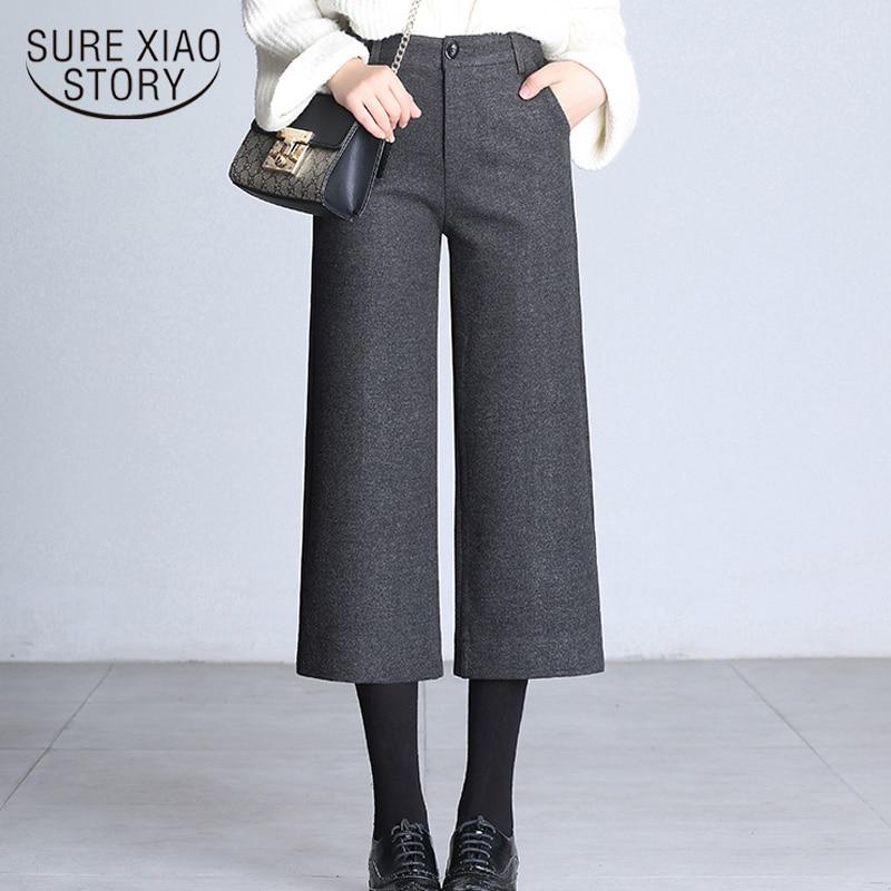 Autumn Winter Warm Woolen   Pants   Women Plus Size Casual Ankle-length   Pants   High Waist   Wide     Legs     Pants   Fashion Trousers 7270 50