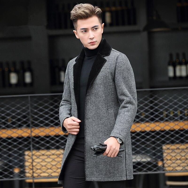 Real 100% Coat Men Sheep Shearling Fur Coats Autumn Winter Long Woolen Jacket Plus Size Abrigo Hombre Invierno ZL904