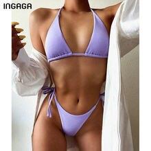 INGAGA Push Up Bikini mayo 2021 mayo kadınlar tanga yüksek kesim Biquini yıkananlar Halter Beachwear mayo Bikini seti