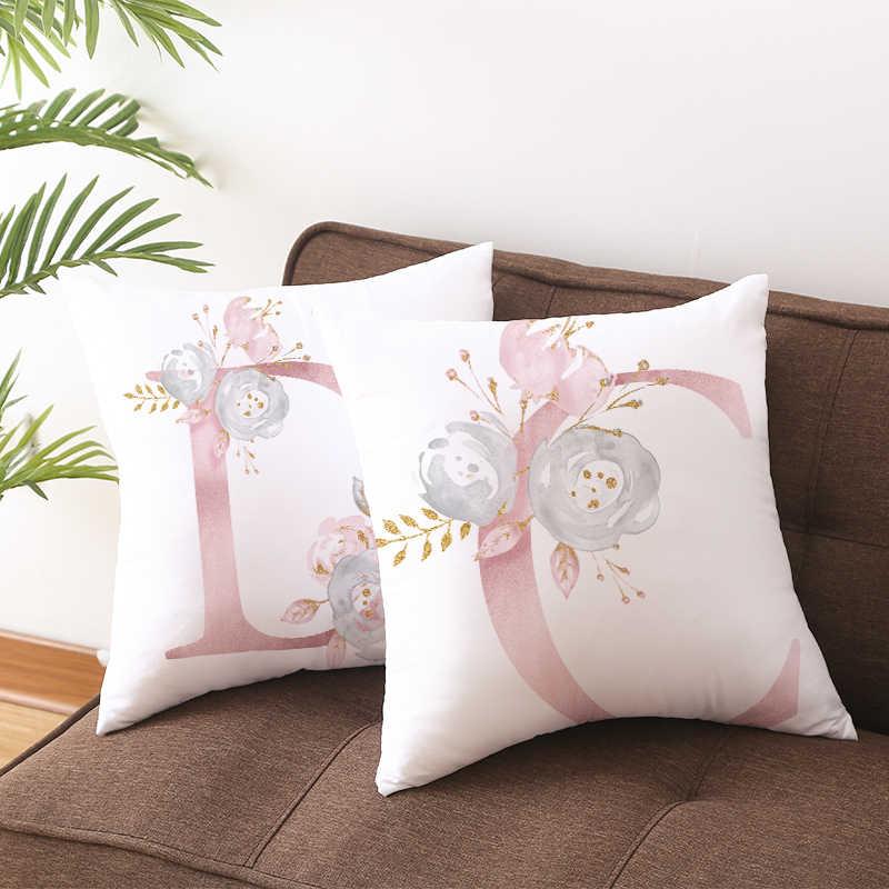 Copertura del cuscino Decorativo Rosa Lettera Stampata Cuscino Coperture 45*45 Federa cuscini del Divano Poliestere cuscini decorativi 10062