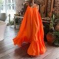 2020 Celmia Sommer Kleid Frauen Sexy Kurzarm Rüschen Maxi Lange Kleid Beiläufige Lose Solide Plissee Strand Vestido Robe Plus größe