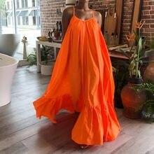 Celmia — Longue Robe manche froncée, vetements femme sexy, manches courtes, Maxi décontractée, couleur unie, tenue de plage, grande taille, d'été 2020