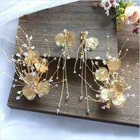 Korean style Bride's head weare tiara fairy sweet barrettes hair earrings set wedding and hair decoration