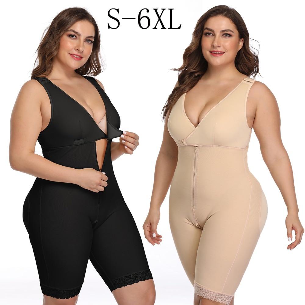 Women's Open Crotch Body Shaper Tummy Control Underwear Black Beige Plus Size 6XL Bodysuit Deep V Overbust Adjustable Shapewear (1)
