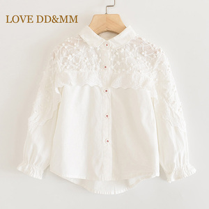 LOVE DD&MM Girls Shirts 2020 Spring Children's Clothing Girls Flower Hollow Embroidery Sweet Lace Side Stand Long-Sleeved Blouse(China)