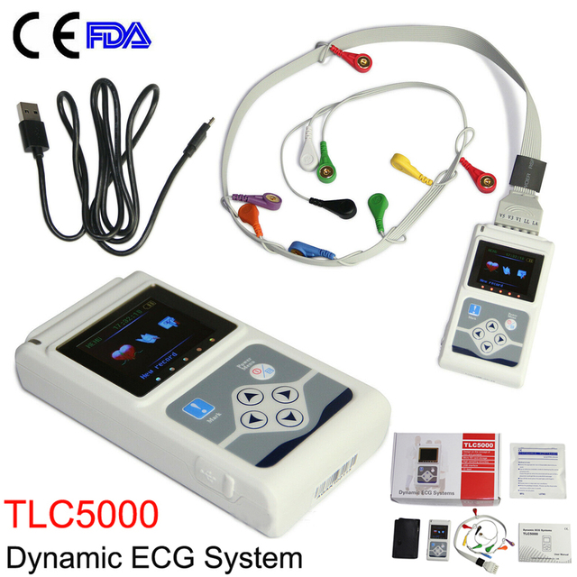 TLC5000 Handheld Dynamic ECG Machine EKG Holter 12 lead 24h Analyzer Recorder Electrocardiograph Monitor Health Care+PC Software 4