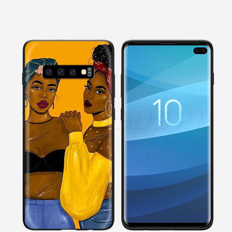 Webbedepp Ragazza Africana di Arte per il Caso di Samsung Galaxy S7 S8 S9 S10 Più Il Bordo Nota 10 8 9 A10 A20 a30 A40 A50 A60 A70