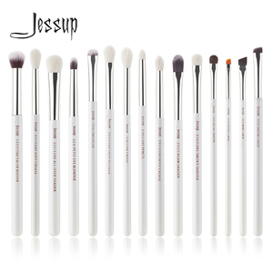 Image 1 - Jessup Pearl White/Silver Professional Makeup Brushes Set Make up Brush Tools kit Eye Liner Shader natural synthetic hair