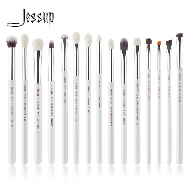 Jessup Pearl White/Silver Professional Makeup Brushes Set Make up Brush Tools kit Eye Liner Shader natural synthetic hair