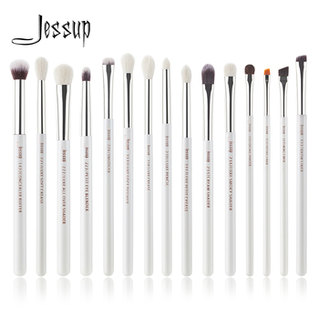 Jessup Pearl White/Silver Professional Makeup Brushes Set Make up Brush Tools kit Eye Liner Shader natural-synthetic hair