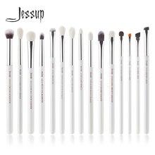 Jessup inci beyaz/gümüş profesyonel makyaj fırça seti makyaj fırça araçları seti göz Liner Shader doğal sentetik saç