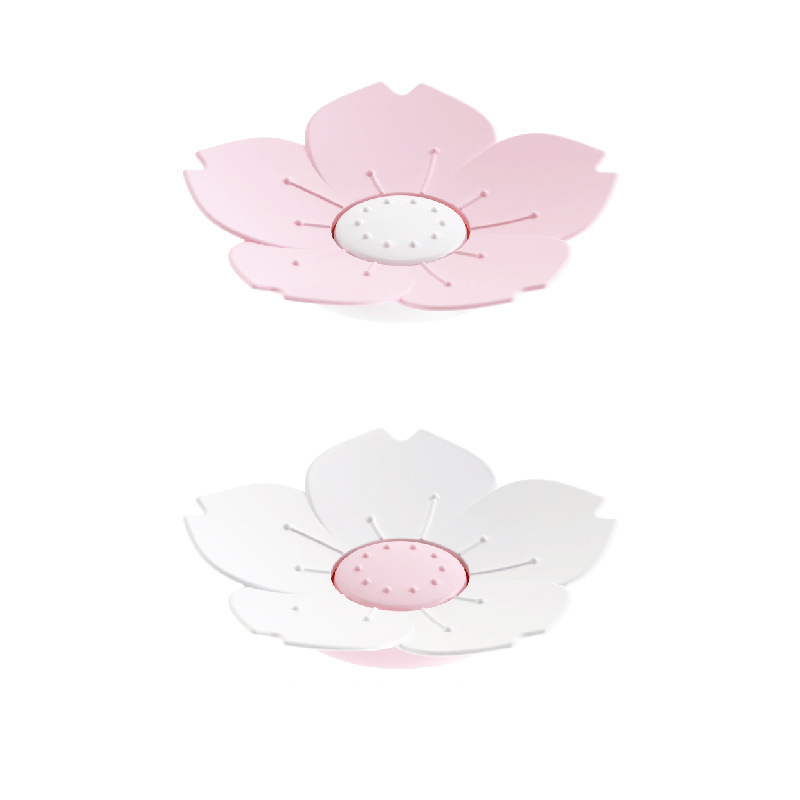 1Pcs Plastic Soap Dish Portable Non-slip Draining Soap Plate Bathroom Accessories Cherry Blossom Shaped Holder Plate Soap Box